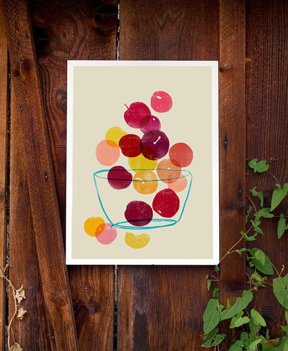 Kitchen Art print Plums Summer Fruit Art / high quality by anek