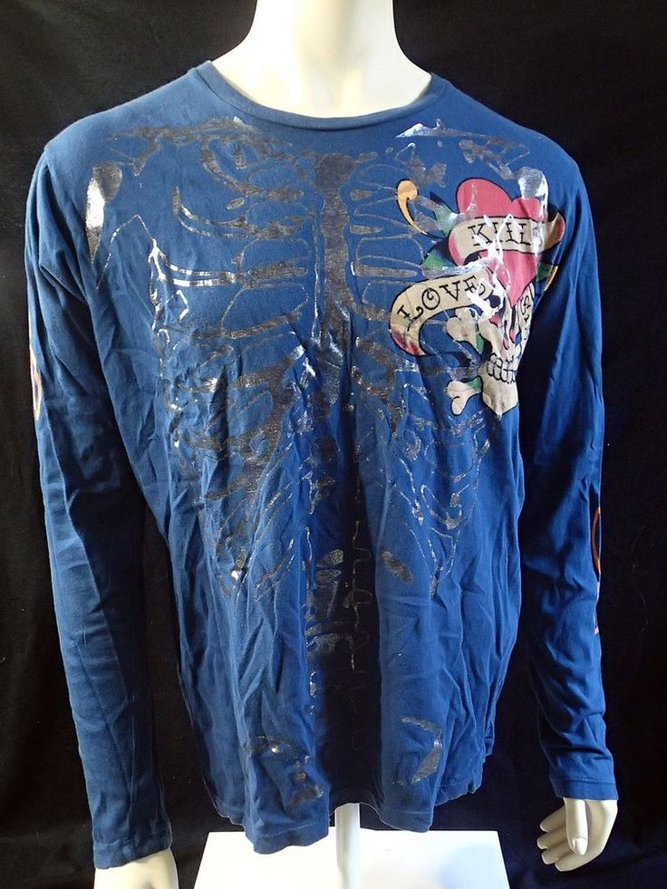 Don Ed Hardy Skeleton Love Kills Slowly Shirt Long Sleeve Blue Large L  | eBay