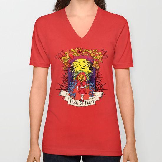 Jack o Red Riding Hood Unisex V-Neck by Little Monster on Society6. Shop art online