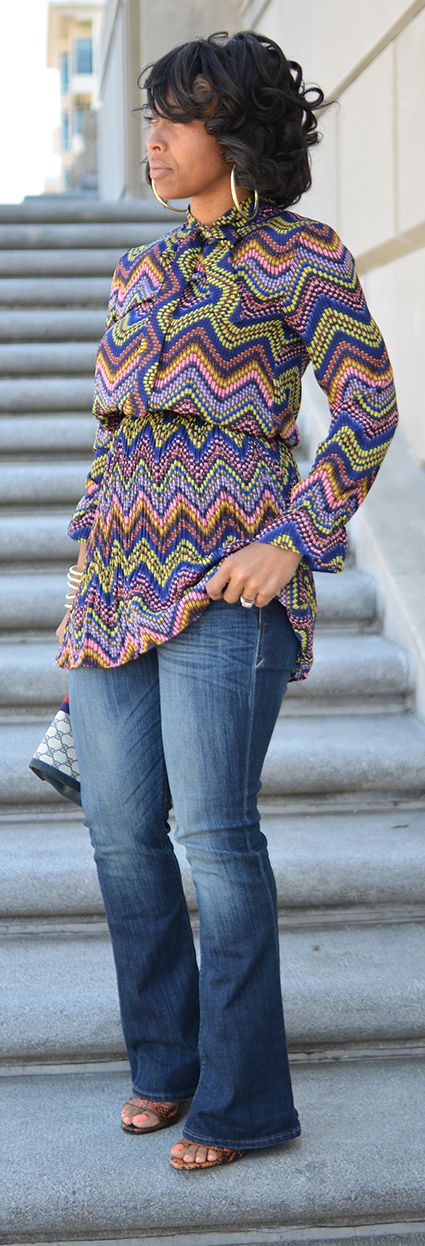 Spring, Spring Outfit Idea, Colorful Top, Flare Leg Jeans