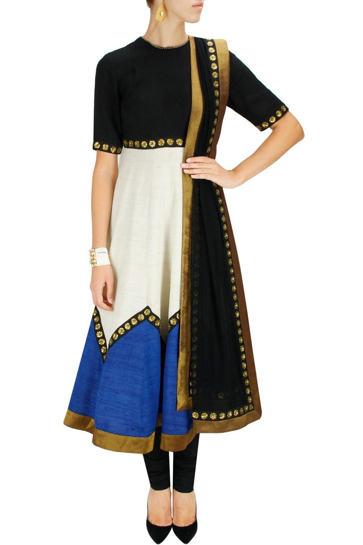 *** make long sleeves, front deep V back even deeper V, add more gold embroider keep everything else same Black, blue and ivory sequins embroidered anarkali set by Priyal Prakash. Shop now at www.perniaspopups