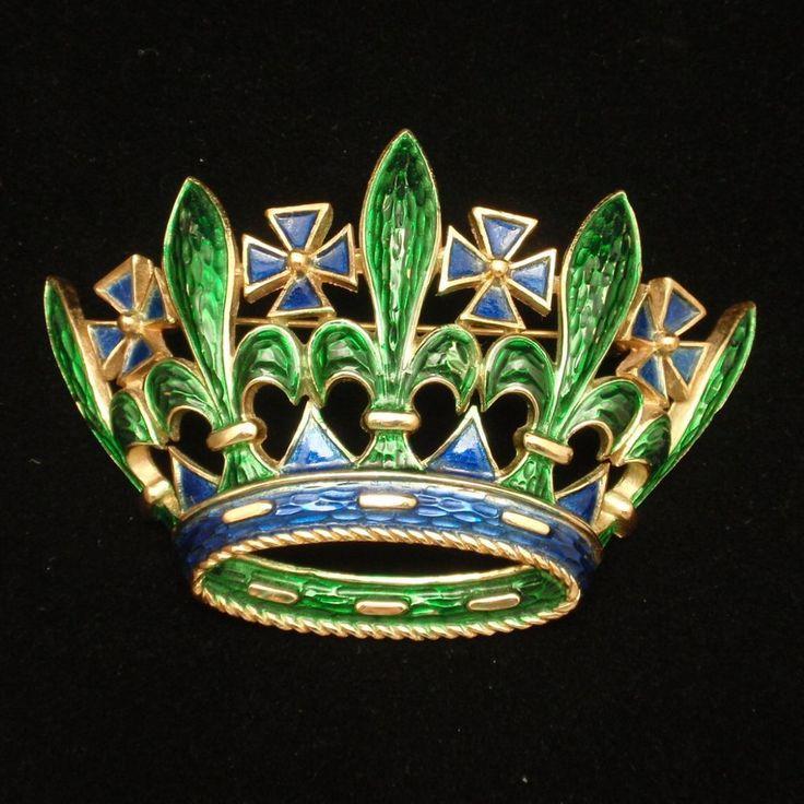 Crown Brooch Pin Enamel Vintage Trifari Large