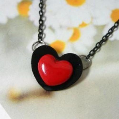 Heart Pendant Necklace Black - One Size