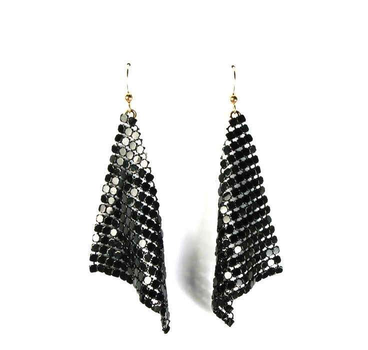 "Disco Fever Earrings $48 TOODLEBUNNY Collection 14k gold filled earwires with a glamorous drape of handcut black enamelled metallic mesh. Light and airy but big on glam! Available in Gold or Black mesh Measures 3.5"" in length from top of earwire"