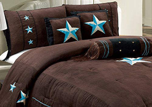"7 Piece WESTERN Lodge Oversize KING (110""X96"") Comforter Set Dark Brown / Turquoise Blue - Embroidered Lone Star Barbed Wire Micro Suede Bedding"