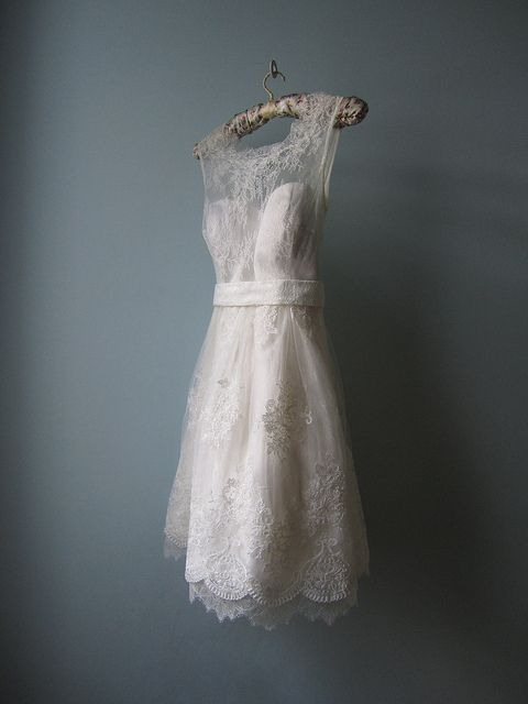 Tea length lace wedding dress- never for the actual ceremony but for pictures maybe...
