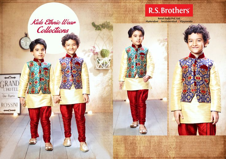 Kids kurta sets from ‪#‎RSBrothers‬ will be an ideal pick for your little boys. This regular-fit set will be soft on your kid's skin. Your son will look dashing in this sets with a pair of matching sandals.
