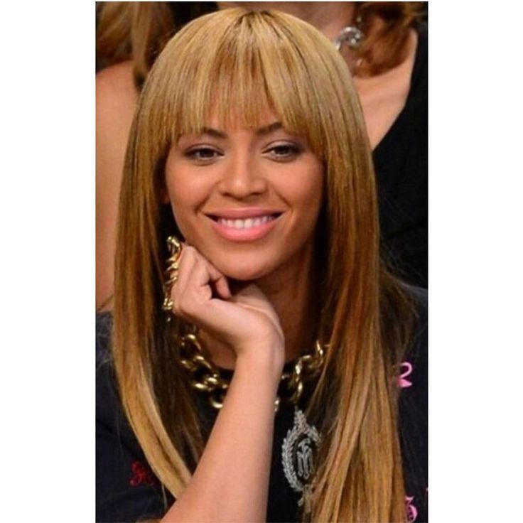155.99$  Buy here - http://alidl9.worldwells.pw/go.php?t=32558024837 - Beyonce Long Straight 100% Hu man  Hair Wigs Capless Wigs With Full Bangs 155.99$