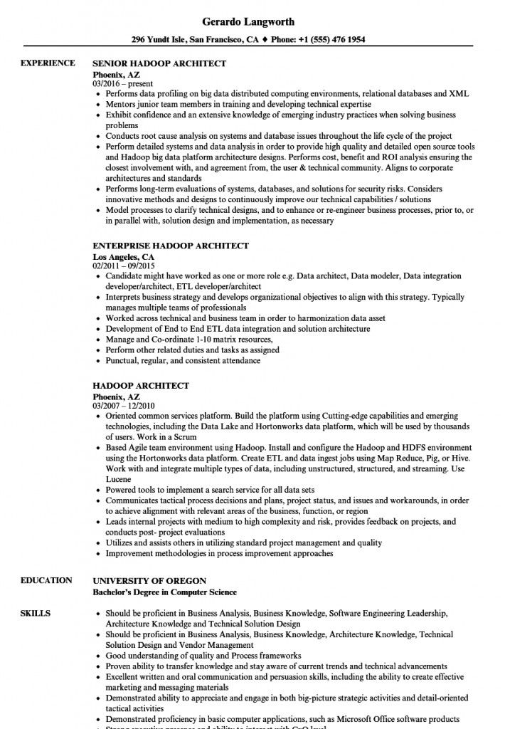 Hadoop Architect Resume 2 2021 In 2021 Architect Resume Resume Business Problems