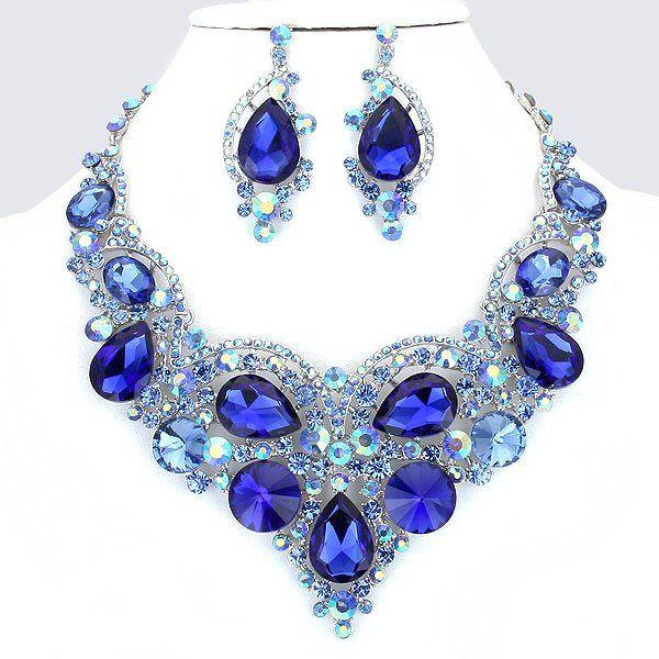 d8189e93fa180 Royal Cobalt Blue Crystal Rhinestone Formal Wedding Bridal Prom ...