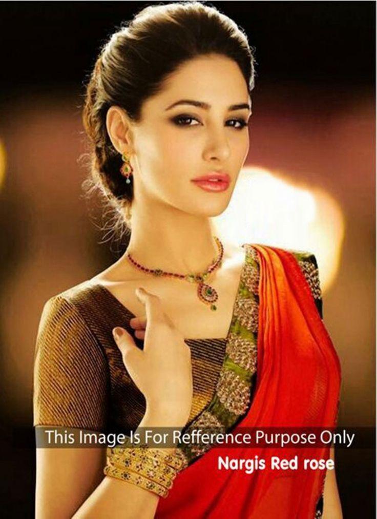 Nargis Fakhri Red Designer Partywear  Saree