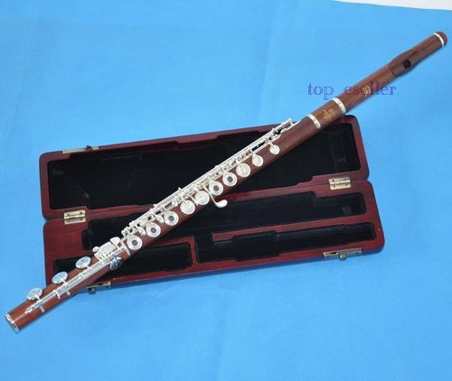 Professional Grenadilla Rose Wooden Flute Open Hole B Foot in Line G