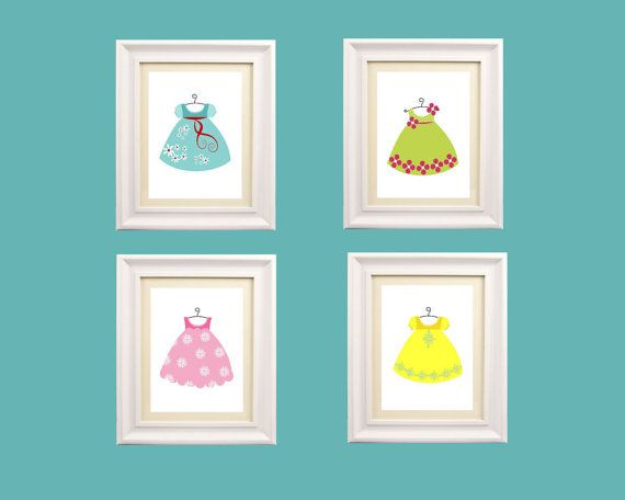 Girl Art Prints, Little Girl Dresses art, Set of Four  8x10 prints, nursery, or playroom, or as a gift