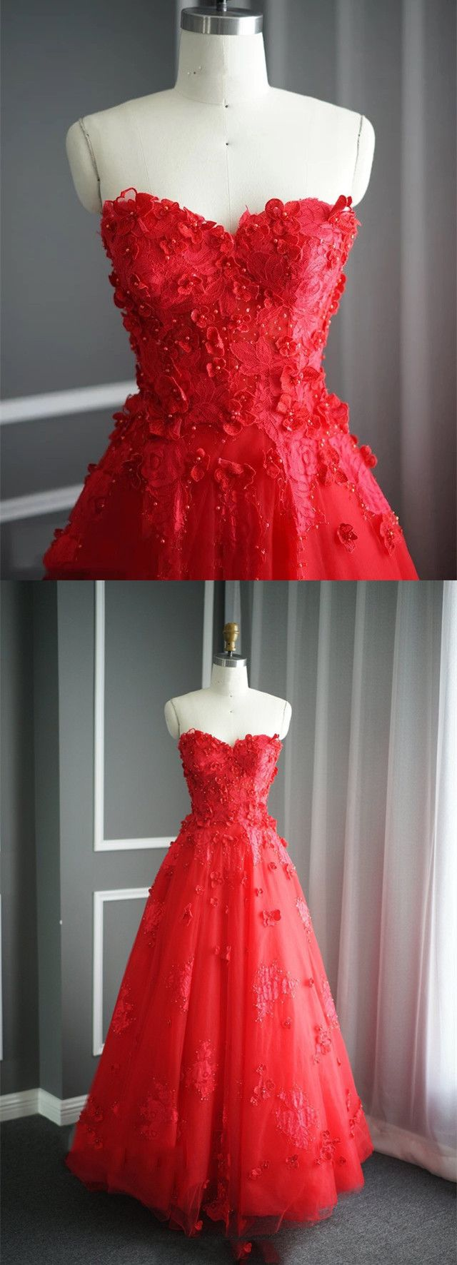 A Line Floral Lace Beaded Sweetheart Tulle Evening Gowns ,Elegant Long Prom Dress,Red Bridesmaid Dresses For Wedding Party