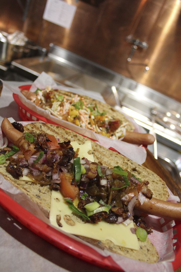 A couple of our footlong hotdogs.  Loaded with toppings.