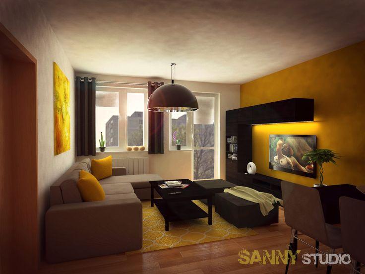 Návrh interiéru obývacej izby v 2 izbovom byte v Petržalke, Bratislava.