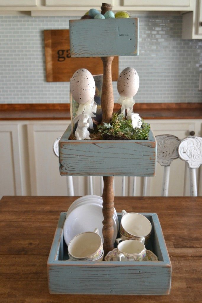 mycreativedays: DIY Three Tiered Stand made with a spindle and wood for spring!