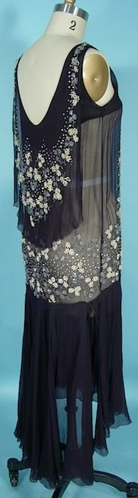 c. 1927/1928 Beautifully Beaded Navy Silk Chiffon Flapper Dress with Open Scarf Skirt-- Back View