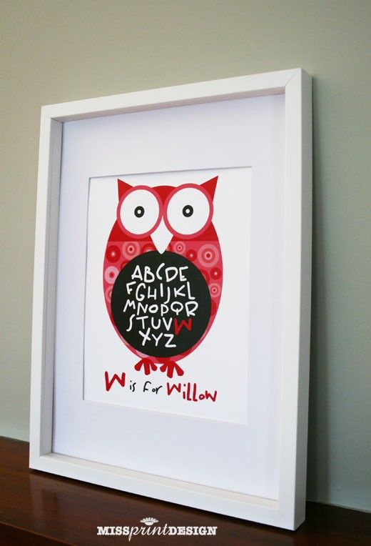 Owl Baby Nursery Art, Personalized, Alphabet Print, Baby Shower Gift 8x10. $18.00, via Etsy.