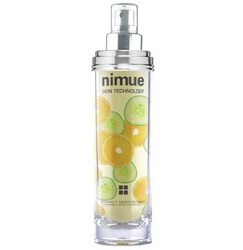 "Vitamin C Moisture Mist. A skin treatment mist based on a unique natural UVA sunscreen active, Phyto endorphins and Antioxidants. The ideal ""anti – tiredness"" treatment for ""happiness that you can see and feel"", in all skin classifications. Available as a refill. 140ml. Nimue Skin Technology."
