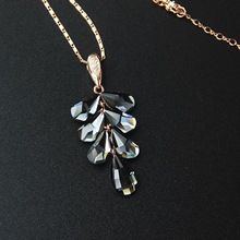 Viennois rose gold black crystal leaf necklaces & pendants gold chain plant long necklace for women bijoux()