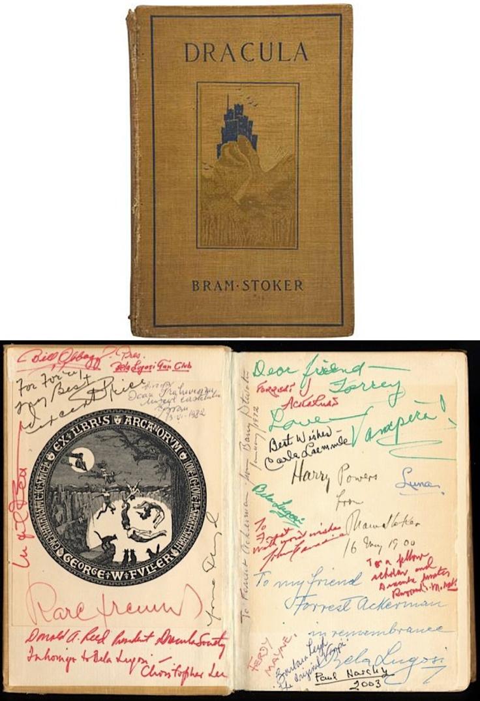 "Forrest J. Ackerman's first edition of Bram Stoker's Dracula, signed by Bram Stoker, Vincent Price, Christopher Lee, Bill Obbagy, Ingrid Pitt, Karl Freund, Donald A. Reed, Barry Atwater, Maila Nurmi a.k.a. ""Vampira"", Carla Laemmle, Carroll Borland, John Carradine, Raymond McNally, Ferdy Mayne, Paul Naschy, Barbara Leigh & Bela Lugosi."