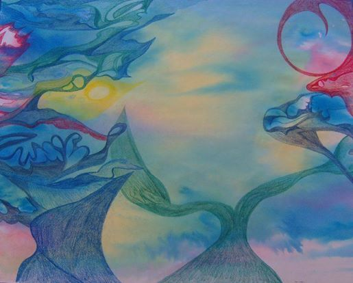 Duality Ecoline, colored pencils 65 x 50