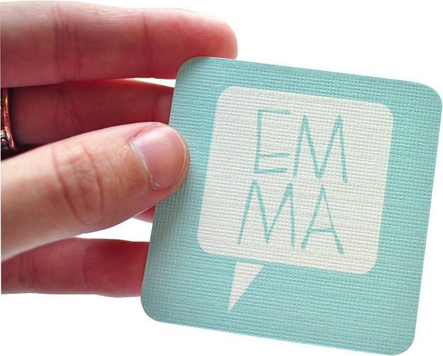 Business card of graphic designer Emma Robertson (front).