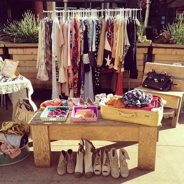 Image result for shoes and clothes on display for yard sales