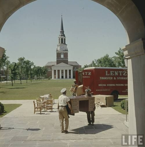 This historical photo by photographer Hank Walker shows furniture being moved into Reynolda Hall after Wake Forest College moved from the town of Wake Forest, N.C., to the Winston-Salem campus in 1956. It is part of an online collection by LIFE Magazine. : http://thewakewewere.tumblr.com/post/54097131682/this-historical-photo-by-photographer-hank-walker