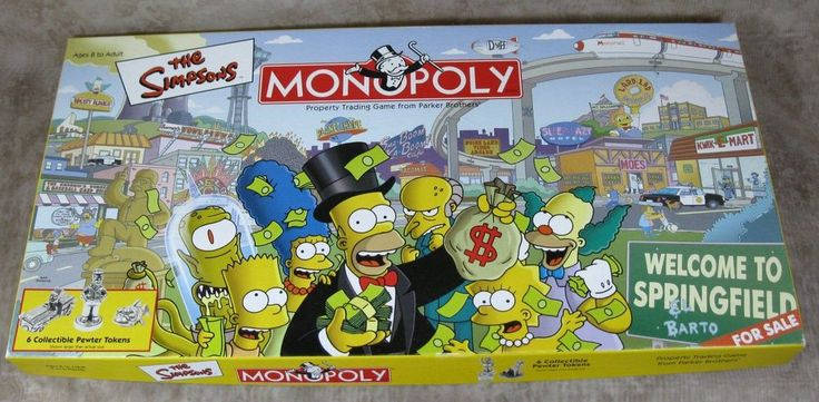 The Simpsons Monopoly Board Game Welcome To Springfield Complete In Box #ParkerBrothers