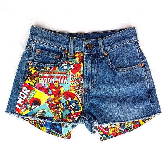 Levis Vintage tagliare corti Jean, Super eroe patchato Jean Shorts, Marvel patchato Jean Shorts,
