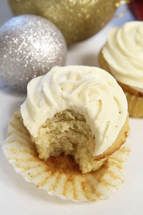 Holiday eggnog cupcakes with eggnog frosting