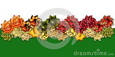 Wide wavy #ribbon made of #abstract floral shapes filled with various #fruity #textures: #apples, cherries, berries, citrus and #exotic/tropical fruits, on two-tone #background: white and #green