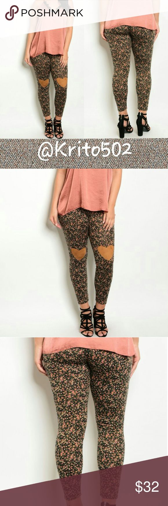 🌹🌹Plus size floral print leggings🌹🌹 BLACK FLORAL PLUS SIZE PANTS  94% RAYON  6% SPANDEX Pants Leggings