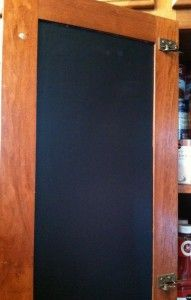 Chalkboard contact paper inside cabinets
