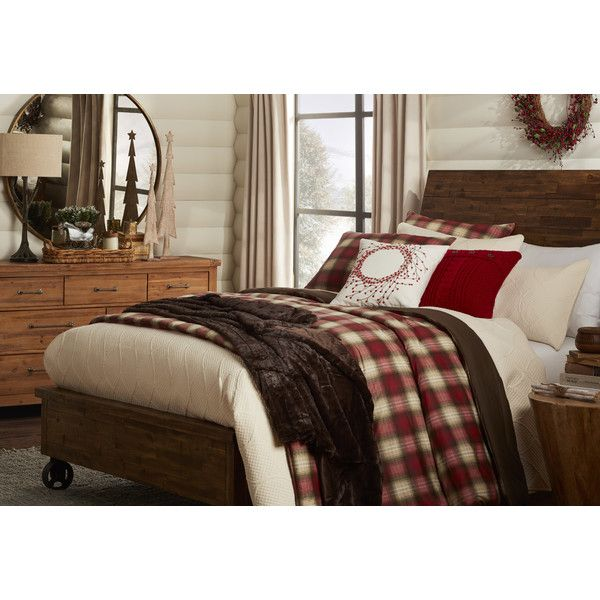 Navigation Plaid Comforter Set by Eddie Bauer - I like the styling of this with the dark brown throw (could keep my bedskirt) and light curtains - could add in additional plaid pillows.