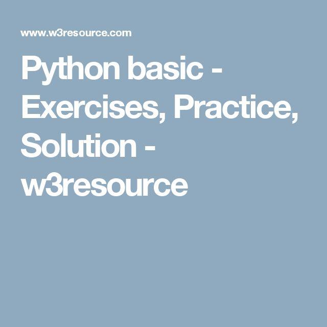 Python Basic Exercises Practice Solution W3resource