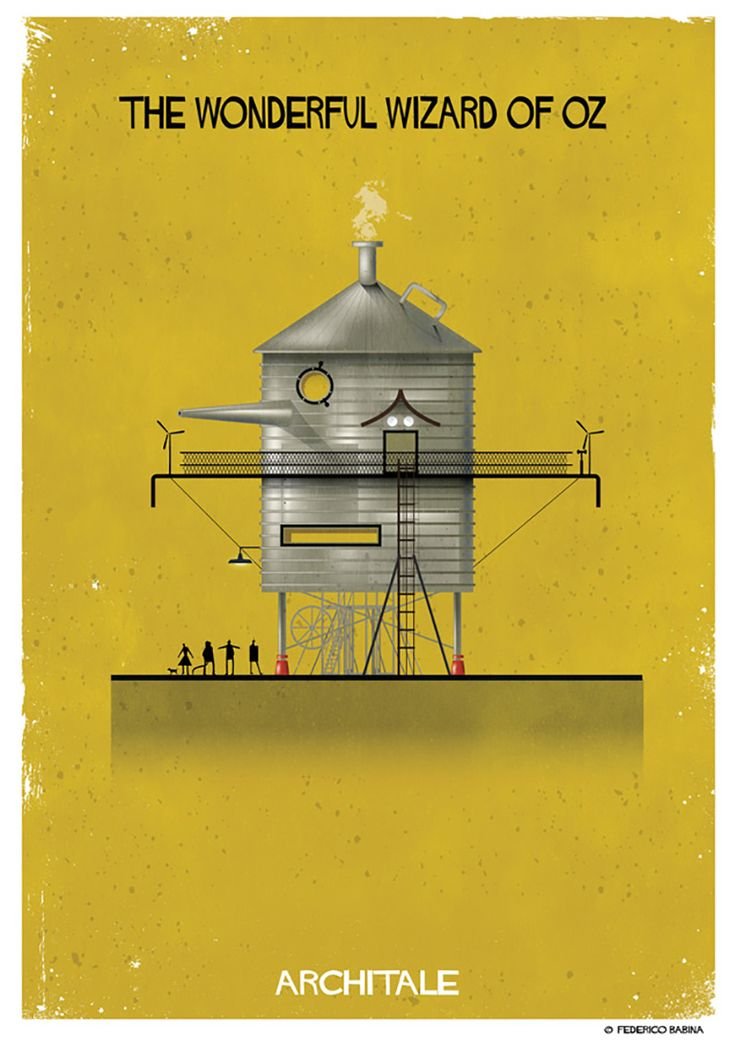 italian illustrator federico babina blends fantasy with reality, imagining the architecture of fairy tale characters.