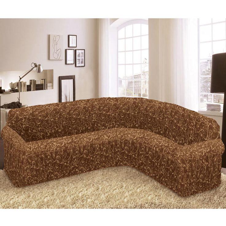 Bielastické poťahy INCA hnedé rohová sedačka (š. 350 - 530 cm) - 1