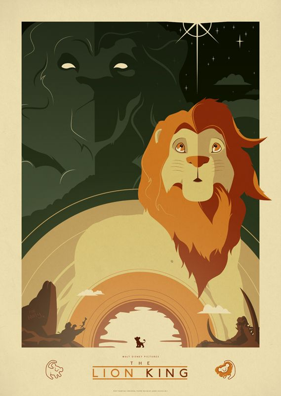 Beautiful Art Deco Lion King Print by Jonny Eveson