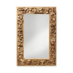 Teakhouten spiegel met een bijzonder bewerkte brede rand.De lijst heeft een 3D effect.