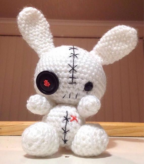 Voodoo bunny. Just the guy for Halloween. Find him in my Etsy store. https://www.etsy.com/au/shop/Chappygurumi?ref=profile_shopicon