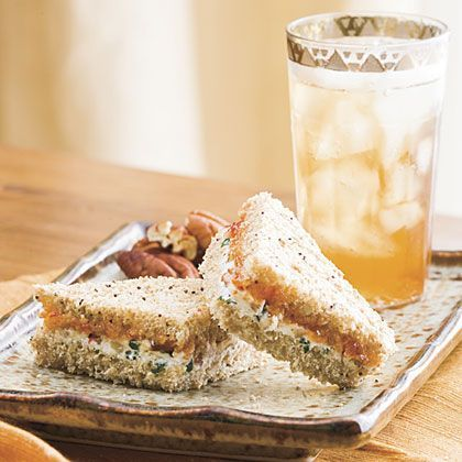Goat Cheese-Pecan Finger Sandwiches. This sounds very yummy to me.