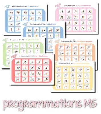 La maternelle de Laurène - programmations MS imagées + observables à cocher