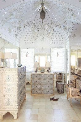 Mother-of-pearl furniture inspired by Doris Duke's house in Shangri La