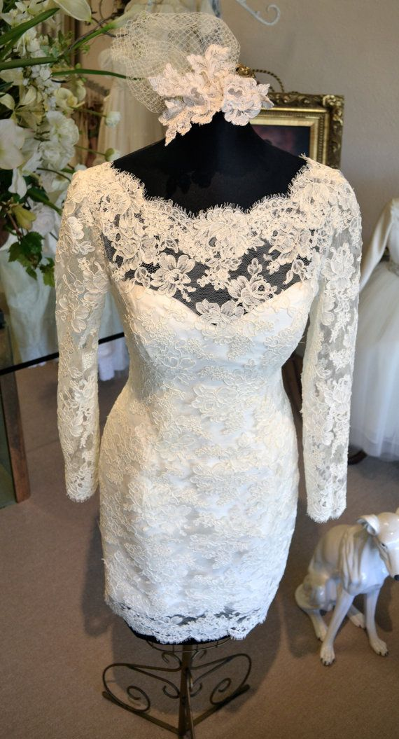 Couture Short Wedding Dress, Long Sleeve in Ivory or Off-White, by www.CouturesbyLaura.Etsy.com