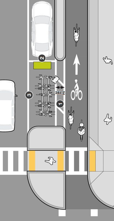Protected lane and bike parking in Mass DOT's Separated Bike Lane Guide. Click…
