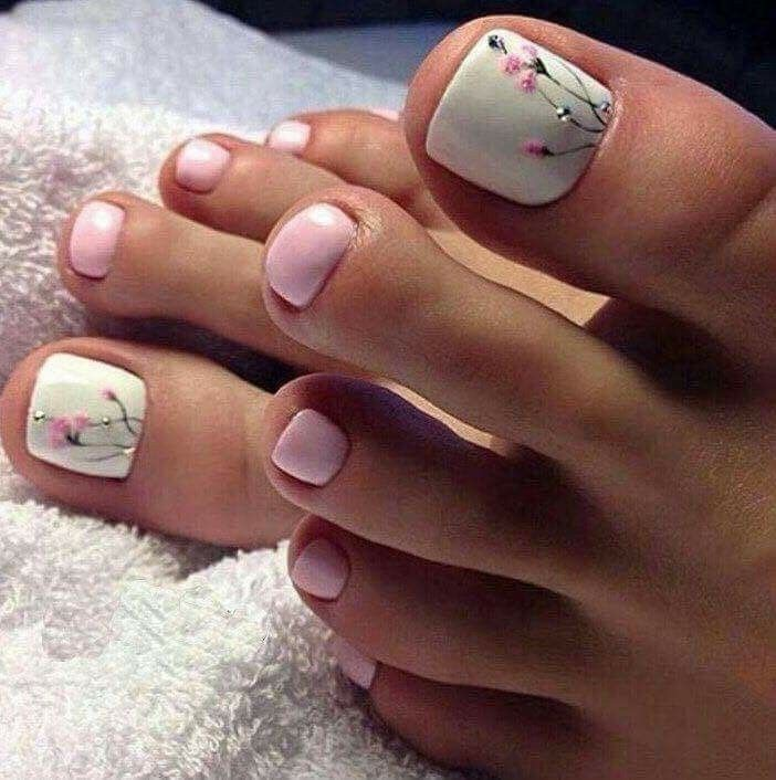 White pink floral toes