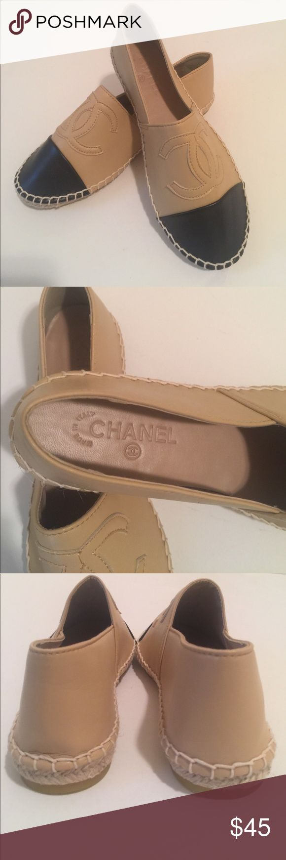 CC Fashion Espadrille Flats NWOT Chanel inspired espadrilles. Faux black & tan leather. Expand 6th photo to see size 39 at toe tip. Runs small, see measurement in photo, measure your own shoes to compare. Shoes Flats & Loafers